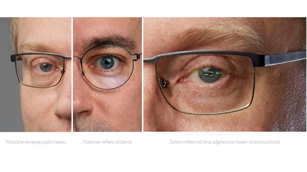 Trudności jakie na sesji zdjęciowej powodują okulary.
